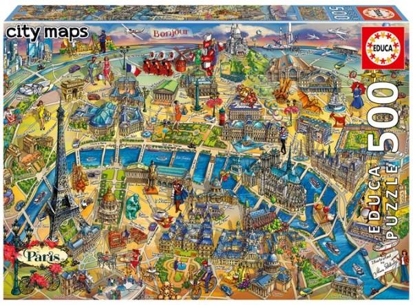 Paris City Maps Puzzle (500 Teile)