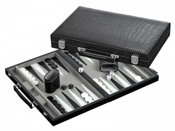 Backgammon, medium, Kunstleder, grau
