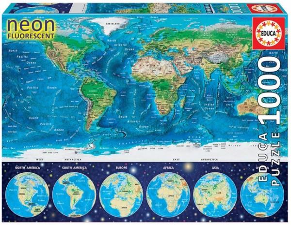 Weltkarte Puzzle (1000 Teile) Nachtleuchtpuzzle